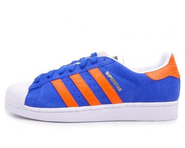 Adidas Originals East River Rivalry Superstar Trainer B34307 Fett Blau/Orange/Metallic Gold