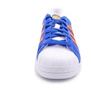 Adidas Originals East River Rivalry Superstar Trainer B34307 Fett Blau/Orange/Metallic Gold