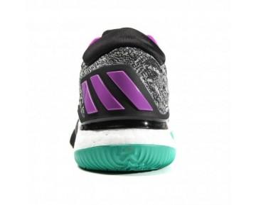 Adidas Crazylight Boost Low 2016 Herren Basketballschuhe Kern Schwarz/Running Weiß/Violett AQ7762
