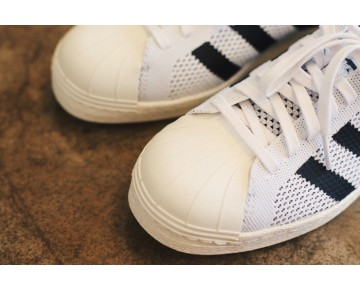 Adidas Consortium Superstar 80s Primeknit Lauf Weiß/Kern Schwarz/Creme Weiß S77440