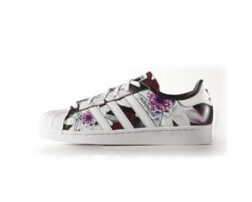 Adidas Originals Superstar Lotus Druck Frauen Beiläufige Schuh Weiße Blumen AF5582
